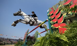 Bo-ring! Jonelle Price of New Zealand riding Faerie Dianimo during the eventing team jumping final.
