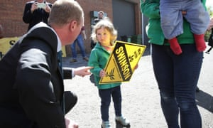 Lib Dem leader Tim Farron meets party activist Cicely Cunningham and her daughter Felicity, 3, during his visit to the new East Dunbartonshire campaign HQ.