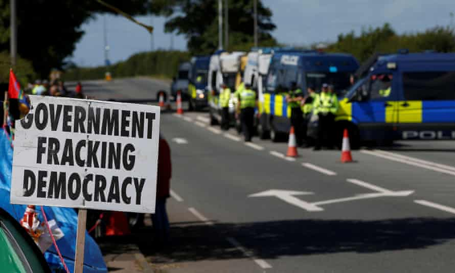 A placard reading 'Government fracking democracy' outside Cuadrilla's Preston New Road site