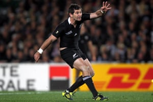 New Zealand's Stephen Donald – the All Blacks' fourth-choice fly-half – kicks the winning penalty against France during the 2011 Rugby World Cup final