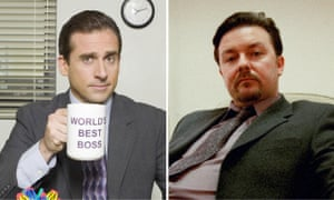 Chilled out entertainers Steve Carell and Ricky Gervais in The Office US and UK.
