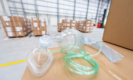 A bag valve mask along with 300 ventilators sourced from China at MoD Donnington.