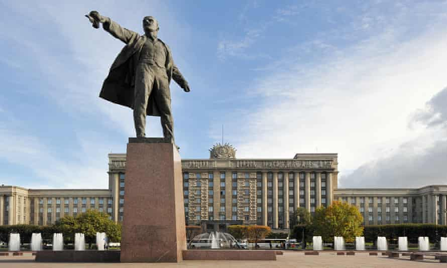 A monument to Lenin in St Petersburg, Russia.
