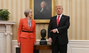 Theresa May and Donald Trump stand by Epstein's bust of Winston Churchill in the Oval Office.