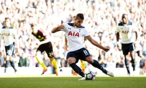 Lamela takes the spot kick.