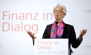IMF chief Christine Lagarde speaks in Vienna about the consequences of a British exit from the EU