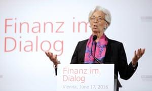 IMF chief Christine Lagarde speaking in Vienna