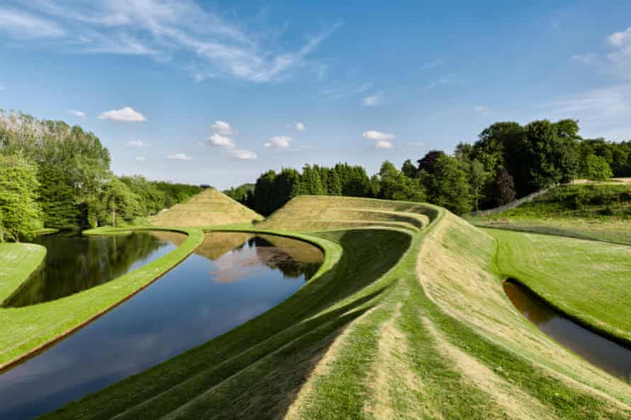 The Garden of Cosmic Speculation, Dumfries, Scotland by Charles Jencks and Maggie Keswick: the Snake Mound and the Snail Mound.