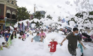 People participate in the Bubble Run at Fanta Wild Adventure Theme Park on May 30, 2020 in Zhuzhou, Hunan Province, China.