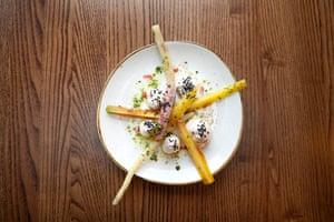 'Pungent, excellent': Taramosalata with seasonal root vegeatables at Melusine, St Katherine Dock, London.