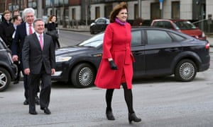 Labour party leader Joan Burton arrives for a pre-election news conference in Dublin