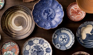 Ceramics photographed from above at Dengama, Tokyo, Japan.