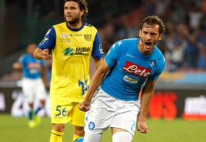 Napoli's Manolo Gabbiadini celebrates after scoring against Chievo.
