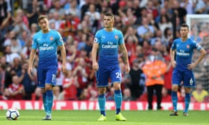 Mesut Özil, Granit Xhaka and Laurent Koscielny after Arsenal fell 4-0 down at Anfield – the latest in a series of horror shows in recent seasons.