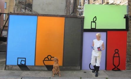 Jenny van Sommers with her street art, created in response to lockdown