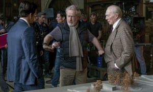 Scott directs Christopher Plummer and Mark Wahlberg in the reshoot of All the Money in the World.