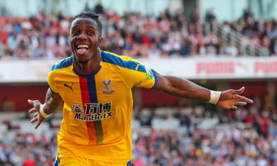 Wilfried Zaha celebrates after putting Palace back in front