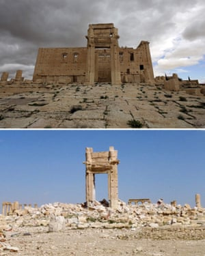 Top: the Temple of Bel in March 2014. Bottom: the same site two years later.