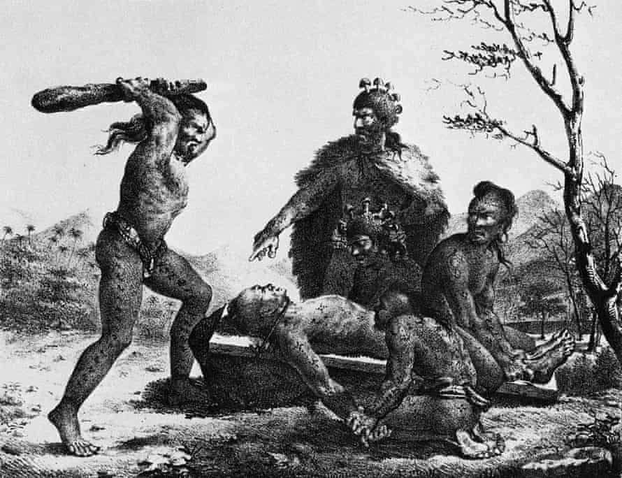 This lithograph from 1819 by Jacques Arago shows human sacrifice under the direction of a Hawaiian priest.