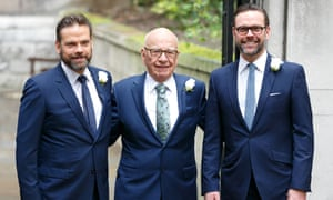 Lachlan, Rupert and James Murdoch at Rupert's wedding to Jerry Hall in London last year.