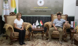 Abdullah Kurdi and his sister Tima at the headquarters of the Barzani Charity Foundation in Erbil, Iraqi Kurdistan.