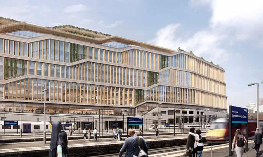 A render of Google's new London headquarters in King's Cross seen from the east.