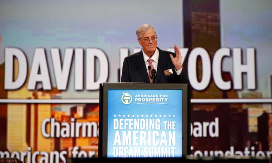 David Koch speaks at an Americans for Prosperity summit in 2015.