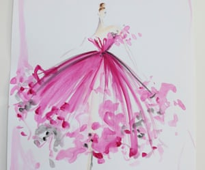 A Christian Siriano sketch of a pink dress, synched at the waist and with a wide, billowing skirt.