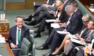 Opposition leader Bill Shorten during question time in the House of Representatives this afternoon, Monday 23rd February 2015. Photograph by Mike Bowers for Guardian Australia #politicslive