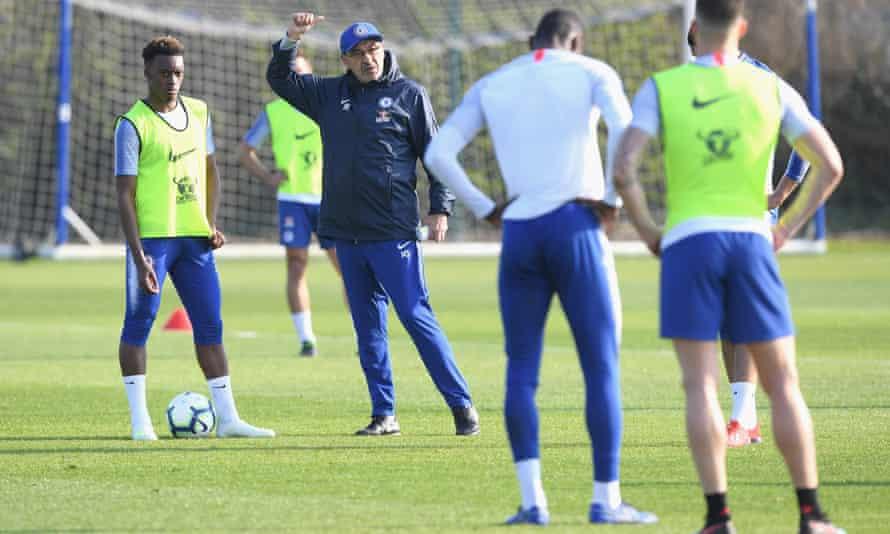 Callum Hudson-Odoi and Maurizio Sarri at Chelsea's Cobham training ground on Friday.