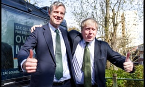Zac Goldsmith campaigning with current London mayor Boris Johnson.