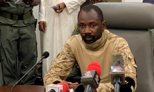 Colonel Assimi Goita speaking to the press in Bamako, Mali, following the military coup on 19 August.