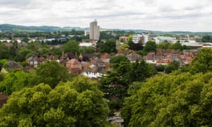 Loughborough skyline from the Carillon Tower, Queen's Park.