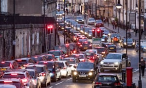 Traffic congestion in Bath, England. The city is planning to introduce a clean-air zone.