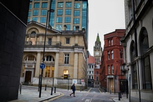Quiet streets in the heart of the old commercial district in Manchester during the morning rush hou