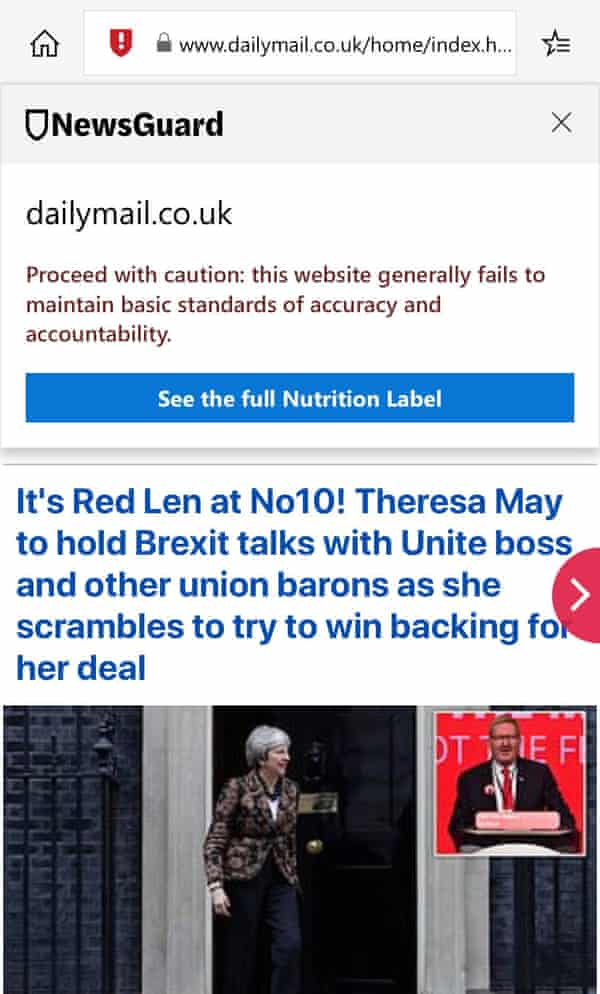 A screengrab of NewsGuard's verdict on the Mail Online