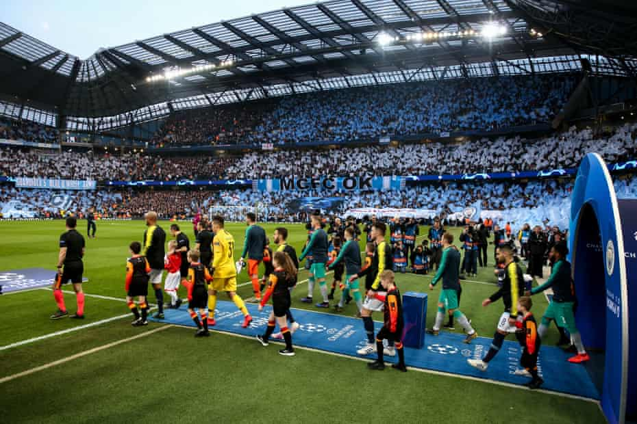 Manchester City and Tottenham walk out for the Champions League semi-final last season