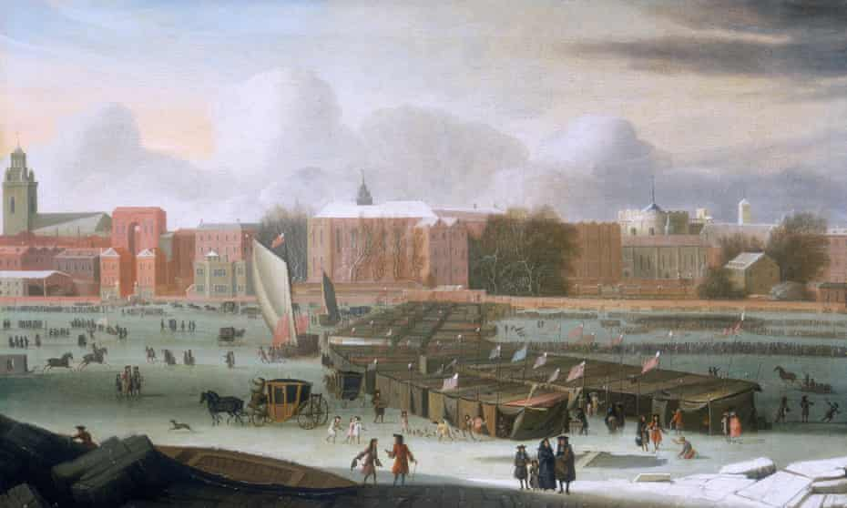 'A Frost Fair on the Thames at Temple Stairs', c1684. These fairs held on the frozen River Thames in the UK are often referenced by those peddling the 'impending mini ice age' myth.
