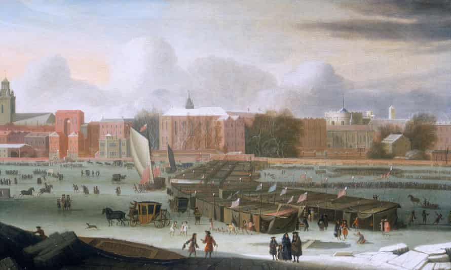 A painting of a fair, one of several built on the frozen Thames during severe winters, in 1684.