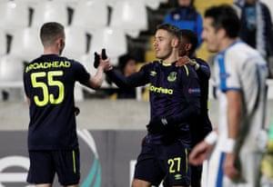 Everton's Nikola Vlasic celebrates scoring with Nathan Broadhead.