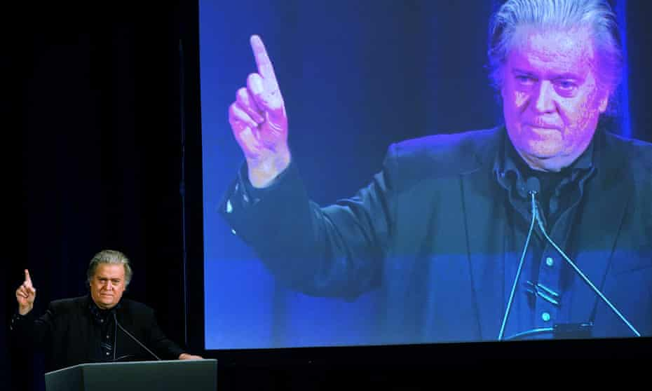 Bannon gestures at a news conference in New York
