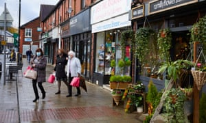 Shoppers in Romiley in Stockport, Greater Manchester.