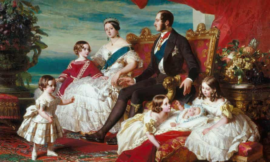 Queen Victoria pictured with Prince Albert and several of their children the painting, The Royal Family in 1846, by Franz Winterhalter, which hangs in the East Gallery of Buckingham Palace.