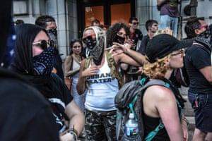 "Antifa responds to a ""Demand Free Speech"" rally in Washington."
