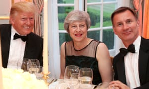 Donald Trump, Theresa May and Jeremy Hunt during the US president's state visit