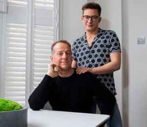 Riyadh (standing) and his father Sam Khalaf (seated), May 2019, London