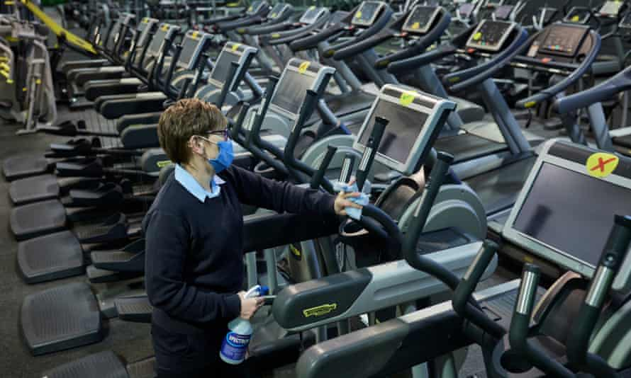 Cleaning machines inside the gym at the Crystal Palace national sports centre, as part of preparations for the reopening of indoor exercise facilities on Monday 12 April.