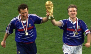Didier Deschamps leads the celebrations in 1998.