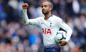 Spurs' hat-trick hero Lucas Moura clutches the match ball as he celebrates after the final whistle.