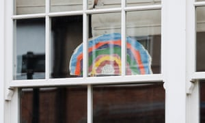 A rainbow message of hope for the NHS is displayed in a window of a house in south-west London.